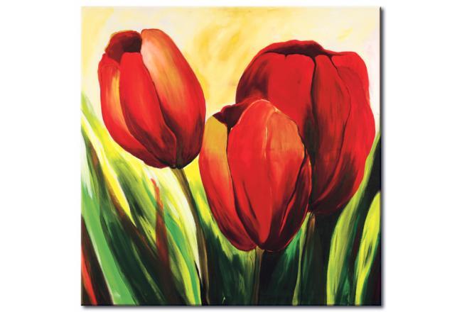 Quadro su tela Tre tulipani - Tulipani - Fiori - Quadri