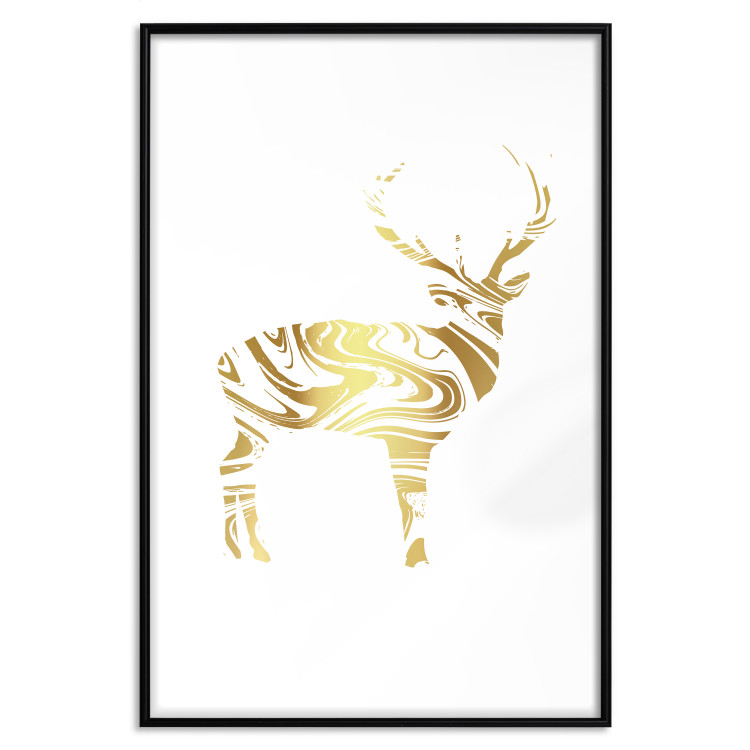 Black and White Deer [Deco Poster - Gold]