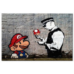 Print On Glass Mario and Cop by Banksy [Glass] 94370 additionalThumb 1