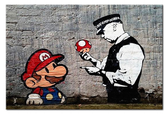 Print On Glass Mario and Cop by Banksy [Glass] 94370 additionalImage 1
