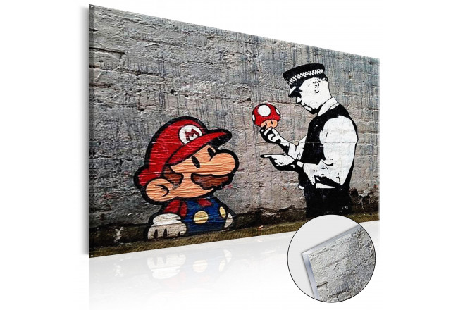 Print On Glass Mario and Cop by Banksy [Glass] 94370