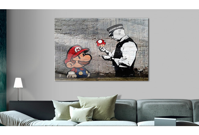 Print On Glass Mario and Cop by Banksy [Glass] 94370 additionalImage 2