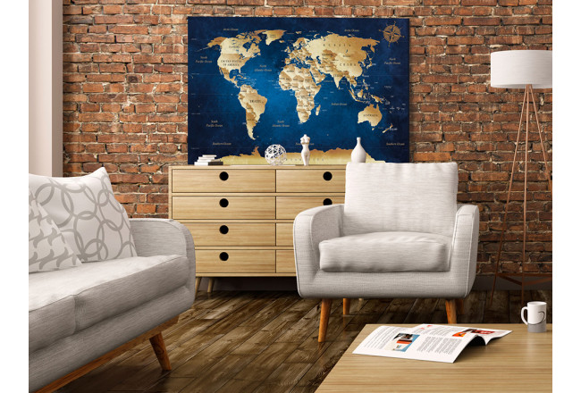 Quadro World Maps: The Dark Blue Depths [Cork Map] 94570 additionalImage 3