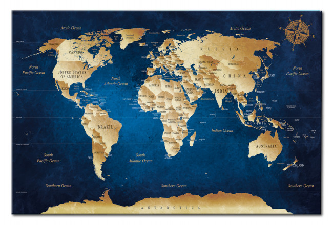 Quadro World Maps: The Dark Blue Depths [Cork Map] 94570 additionalImage 1