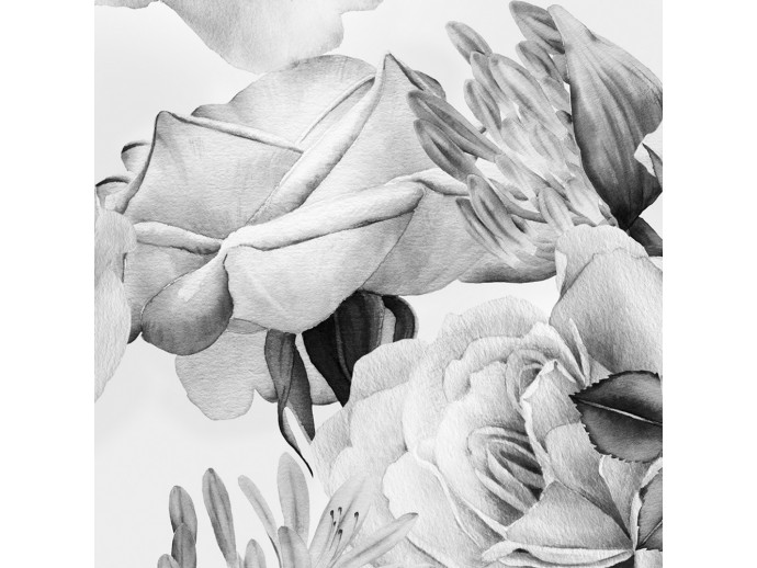 Wallpaper English Flowers (Black and White) 117980 additionalImage 2