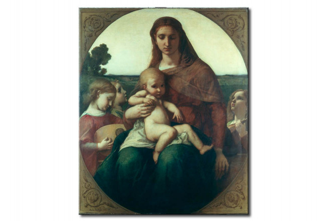 Riproduzione quadro Mary with the Child between Angels playing music 109201