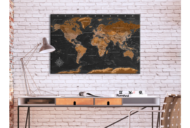 Tableau pêle-mêle en liège Brown World Map [Cork Map - French Text] 105921 additionalImage 3