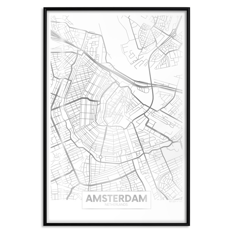 Map of Amsterdam [Deco Poster - Silver]