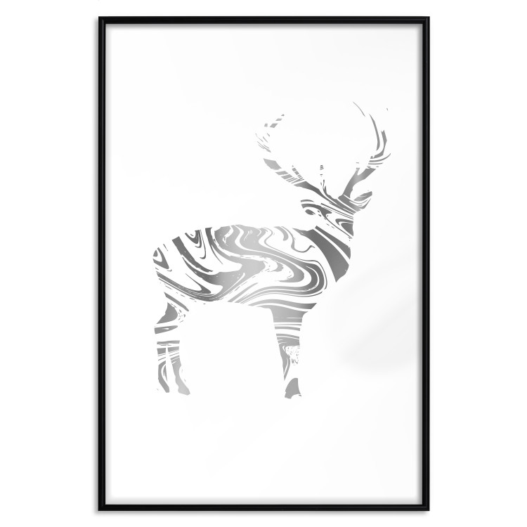 Black and White Deer [Deco Poster - Silver]
