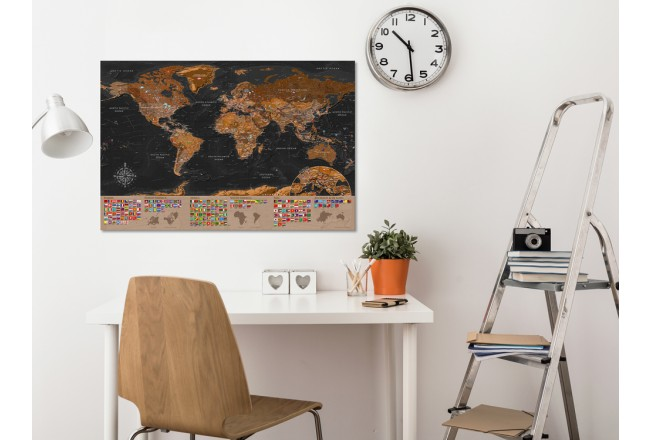Decorative Pinboard World: Brown Map [Cork Map] 98051 additionalImage 3