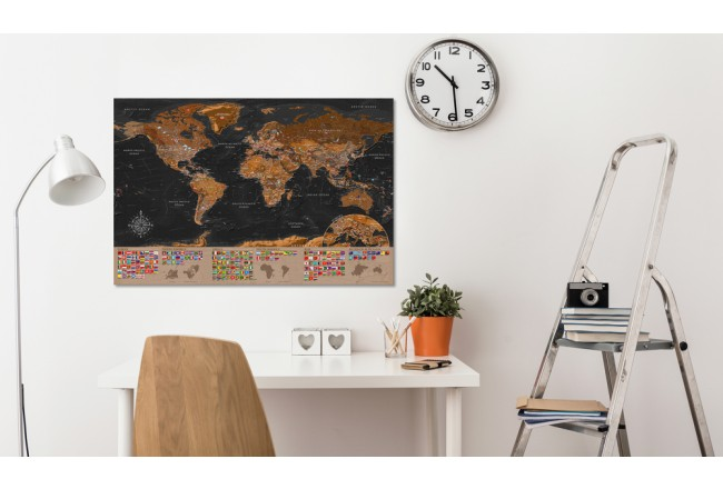 Decorative Pinboard World: Brown Map [Cork Map] 98051 additionalImage 2