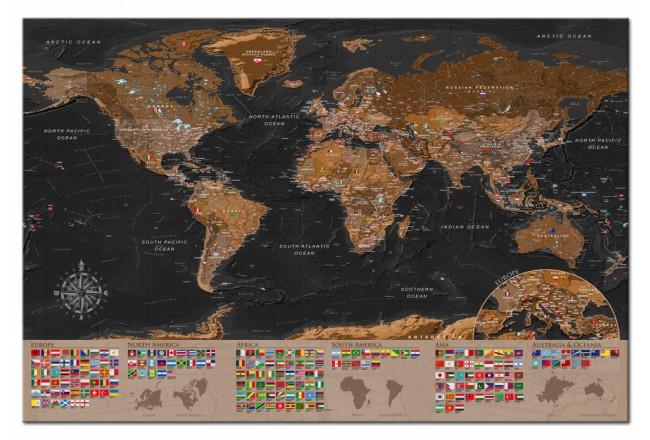 Decorative Pinboard World: Brown Map [Cork Map] 98051 additionalImage 1