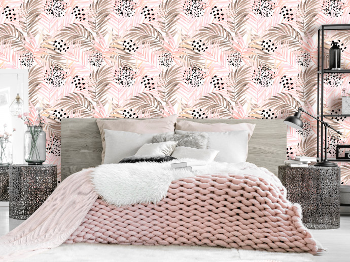 Modern Wallpaper Pink Palm Leaves 114661