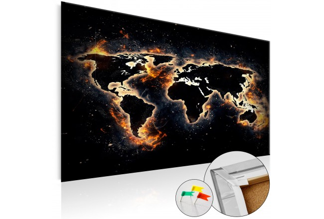 Tablero decorativo en corcho Fiery World [Cork Map] 94671