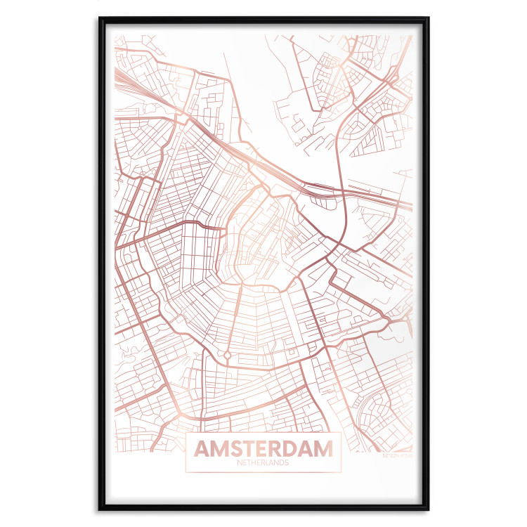 Map of Amsterdam [Deco Poster - Rose Gold]