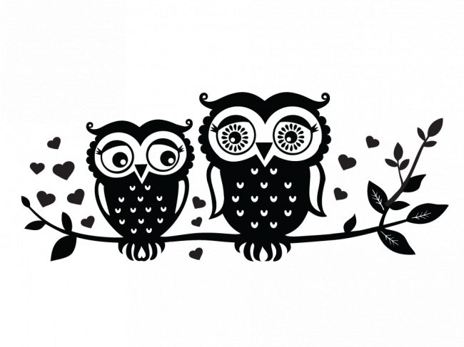 Sticker mural Owls couple 50152 additionalImage 1