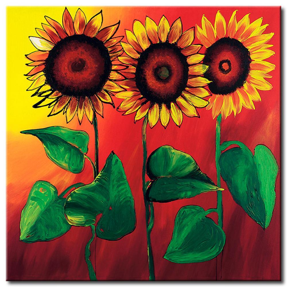 Impresion en tela Tres girasoles idílicos - Girasoles - Flores - Cuadros