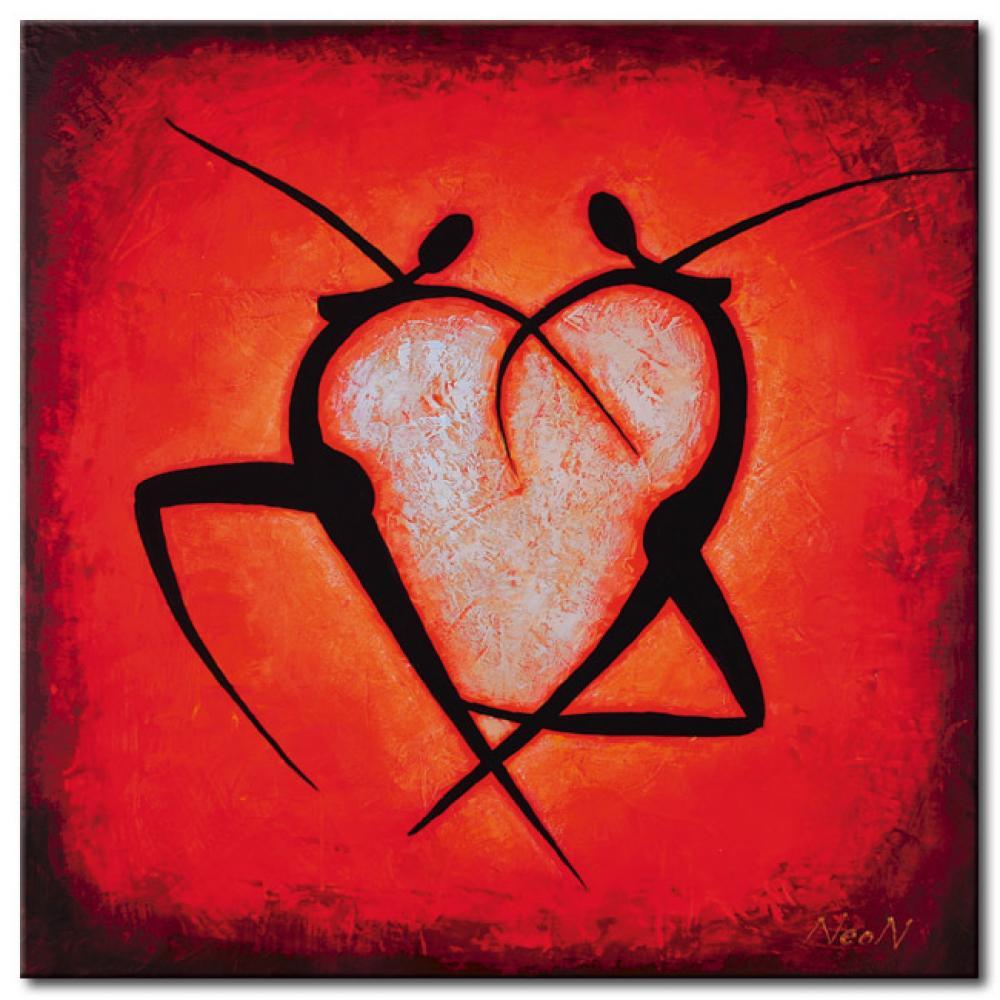 Tableau moderne coeur personnages tableau abstrait for Fotos de cuadros abstractos sencillos
