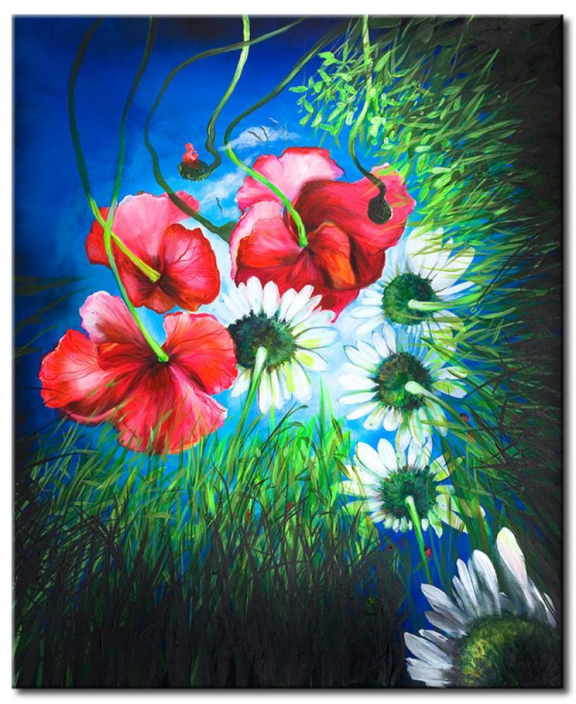 Quadro fiori di campo papaveri fiori quadri for Quadri fiori stilizzati