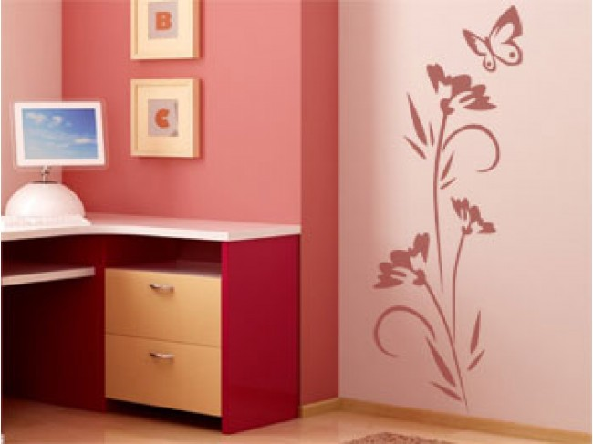 Wall mural Flower and butterfly 56703