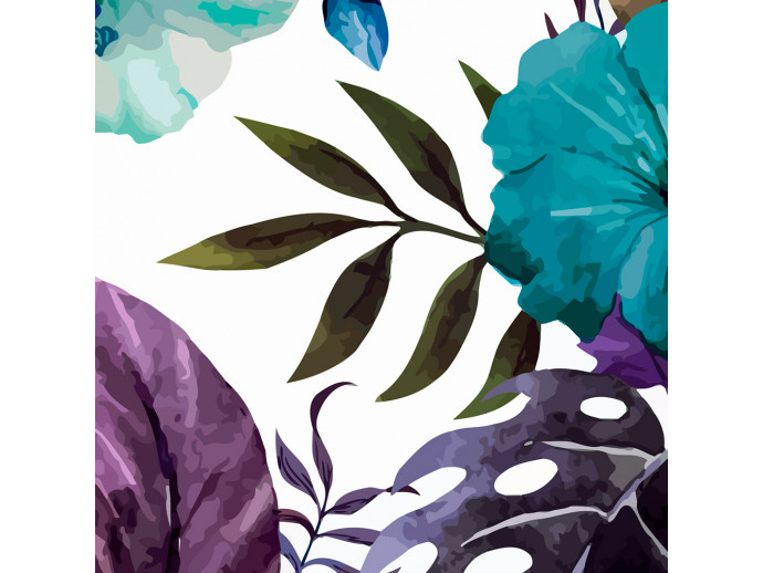 Modern Wallpaper Tropical Flowers (Turquoise) 108513 additionalImage 2