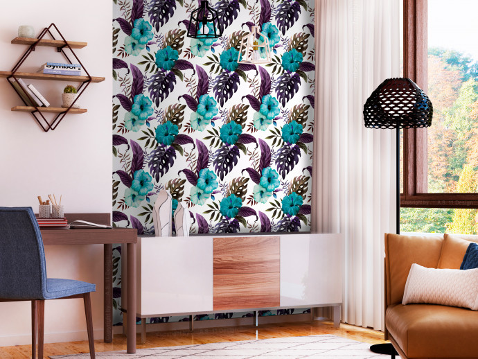 Modern Wallpaper Tropical Flowers (Turquoise) 108513