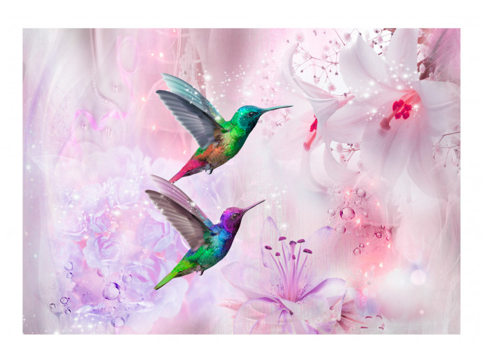 Fotomural Colourful Hummingbirds (Purple) 107623 additionalImage 1