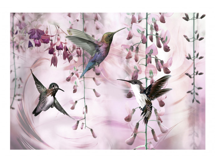 Photo Wallpaper Flying Hummingbirds (Pink) 108033 additionalImage 1