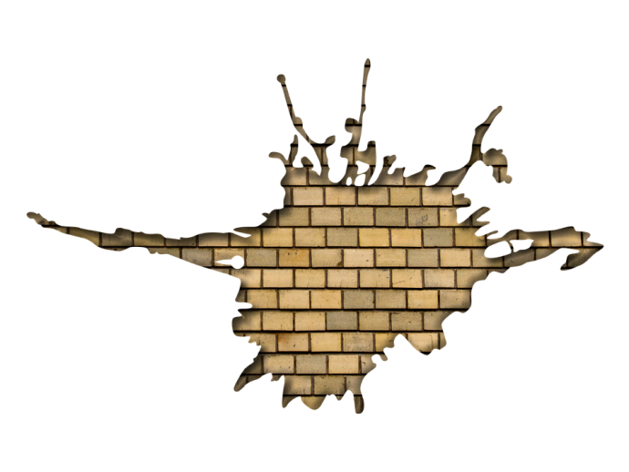 Wandsticker bunt Visual illusion: Brick wall in beige color 90733