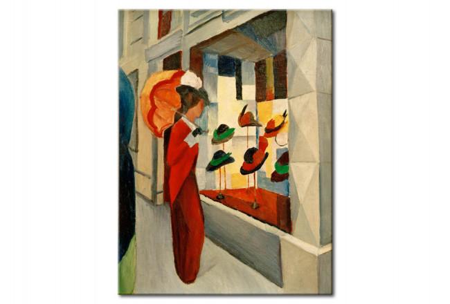 Tableau De Maitre Femme Avec Ombrelle Devant Un Magasin De Chapeaux