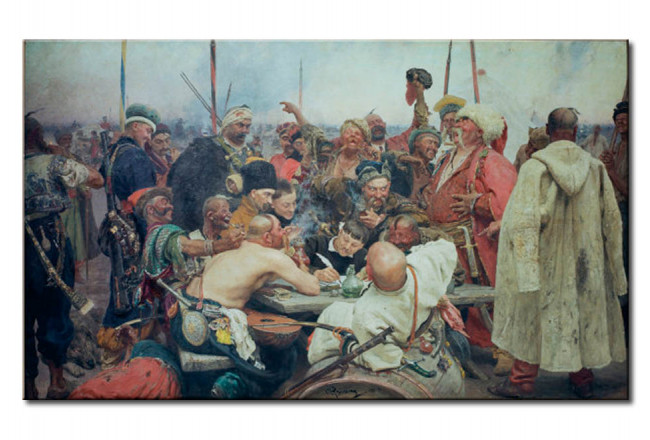 Reproduktion The Zaporozhye Cossacks writing a mocking letter to the Turkish sultan Mehmet IV 107804