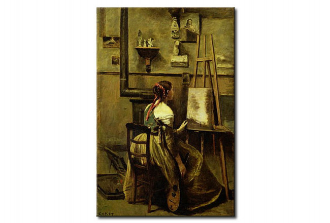 Riproduzione quadro The Studio of Corot, or Young woman seated before an Easel 109704