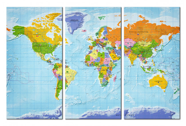 Lavagna decorativa di sughero World Map: Countries Flags II [Cork Map] 97405 additionalImage 1