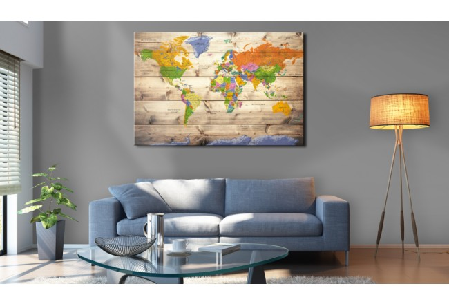 Map on wood: Colourful Travels [Cork Map] 97605 additionalImage 3