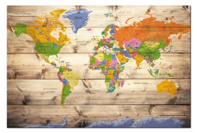 Map on wood: Colourful Travels [Cork Map] 97605 additionalImage 1