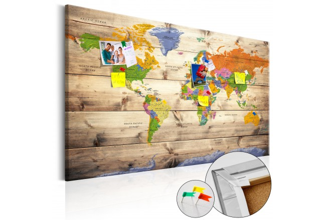 Map on wood: Colourful Travels [Cork Map] 97605