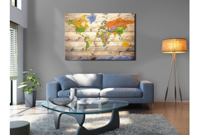 Map on wood: Colourful Travels [Cork Map] 97605 additionalImage 5