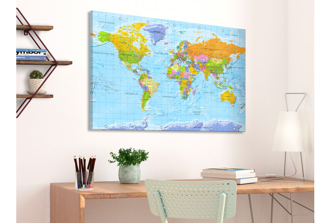 Tablero decorativo en corcho World Map: Orbis Terrarum [Cork Map - French Text] 105925 additionalImage 3
