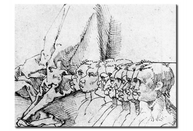 Wandbild Ten heads in profile, mostly caricatured, and drapery 53845