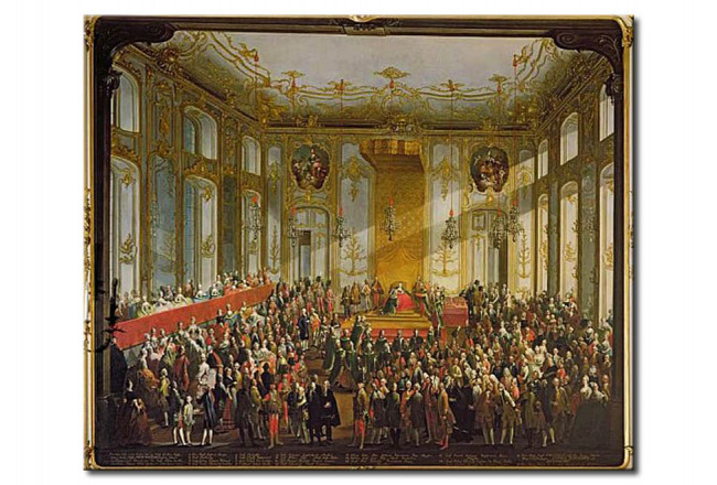 Riproduzione quadro Empress Maria Theresa at the Investiture of the Order of St. Stephen 112385