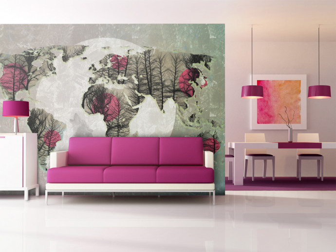 Wall Mural Map of the World - Howling to the moon 97085