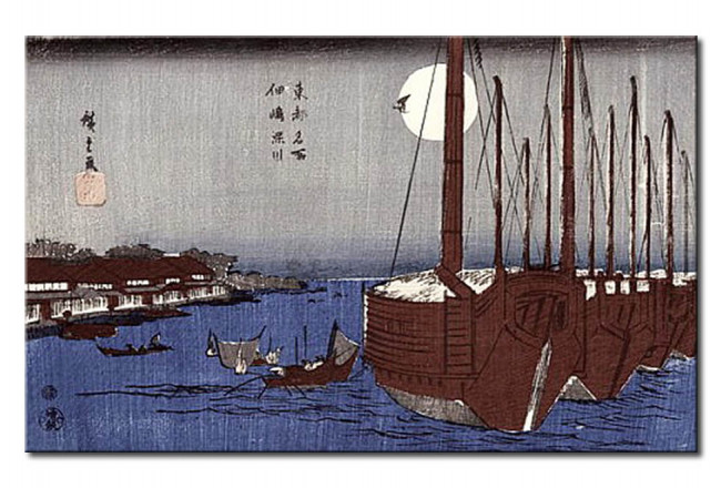 Tsukudajima island and the Fukagawa district under the full moon, from the series 'Toto Meisho' (Famous places of Edo) 111795