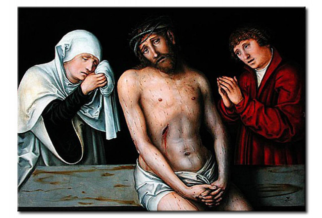 Riproduzione quadro Christ as the Man of Sorrows with the Virgin and St. John 109806