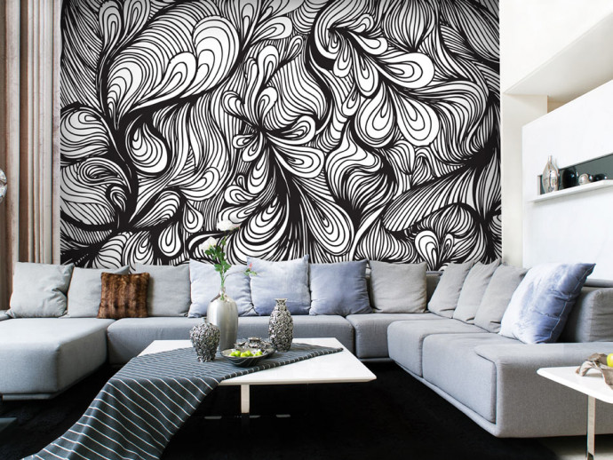 Wall Mural Black and white retro style 60806