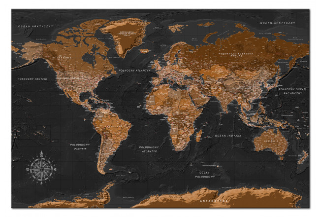 Quadro Brown World Map [Cork Map - Polish Text] 106516 additionalImage 1