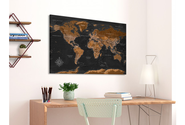 Quadro Brown World Map [Cork Map - Polish Text] 106516 additionalImage 3