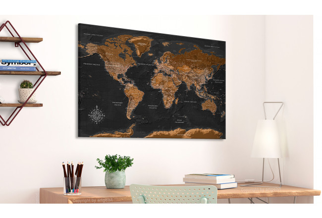 Quadro Brown World Map [Cork Map - Polish Text] 106516 additionalImage 2