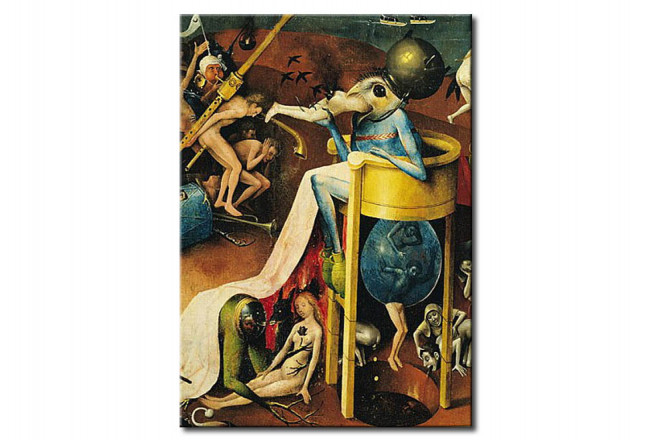 Riproduzione The Garden of Earthly Delights: Hell, right wing of triptych, detail of blue bird-man on a stool 107916