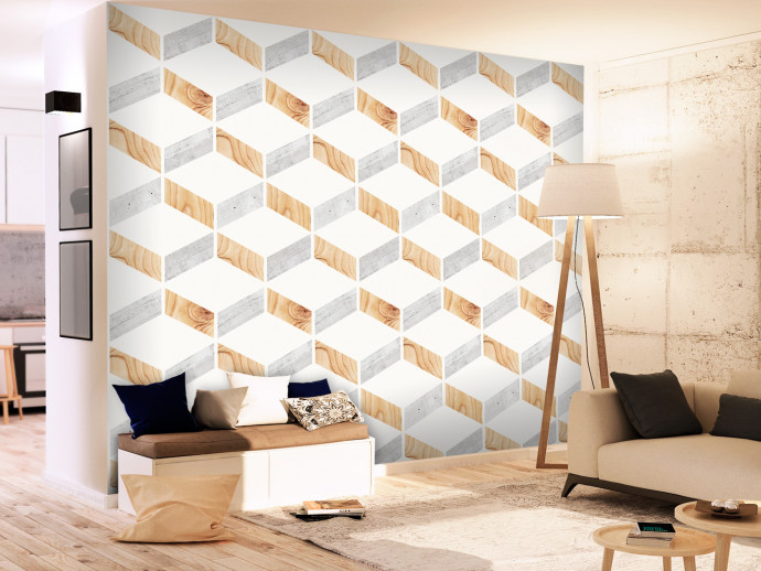 Modern Wallpaper Wood and Concrete 98216