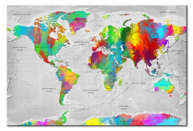 Tablero decorativo en corcho Maps: Colourful Finesse [Cork Map] 95926 additionalImage 1